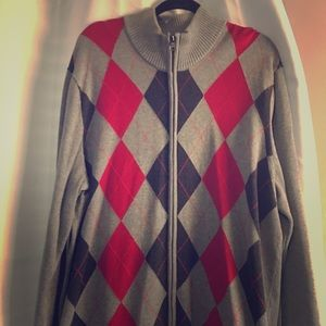 Men's INC argyle zip up sweater